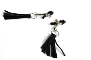 The Dungeon Store Leather Tassel Nipple Clamp - Adjustable