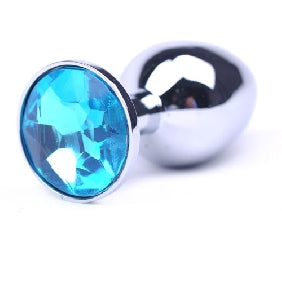 Butt Plug - Polished Metal - Blue Stone