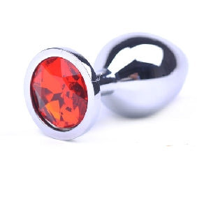 Butt Plug - Polished Metal - Ruby Red