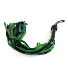 Load image into Gallery viewer, The Dungeon Store 24 Fall Leather Black and Green Flogger