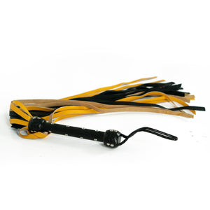 The Dungeon Store 24 Fall Leather Black and Yellow Flogger