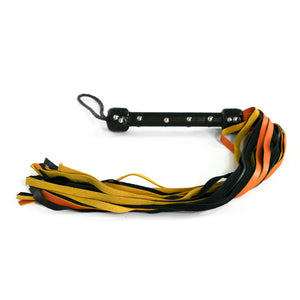 The Dungeon Store 24 Fall Leather Black and Orange Flogger