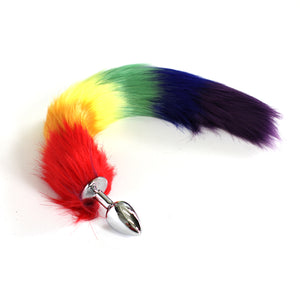 Tailz - Faux Fur Rainbow Tail – Stainless Steel  Plug