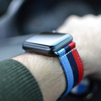 PRE-ORDER 'Motorsport' NATO Band with Black Hardware Compatible Apple Watch 1-4