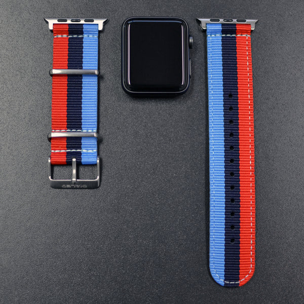 'Motorsport' NATO Band with Stainless Hardware Compatible Apple Watch 1-4