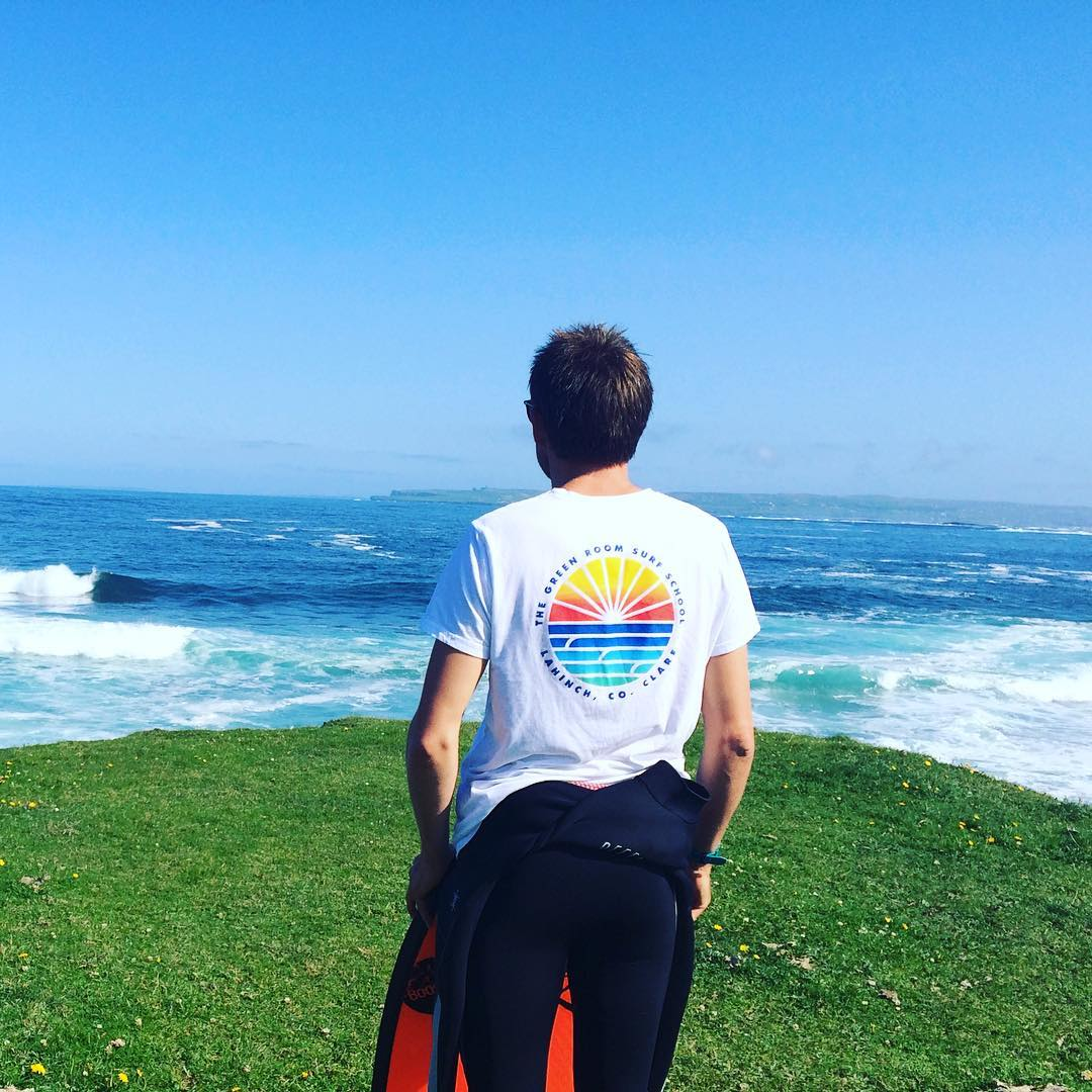 Greenroom Lahinch Surf Shop White T-Shirt On Dan