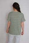 Green Striped Pocket Top