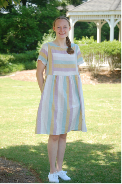 Pastel Striped Midi Dress
