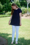 Navy Bamboo Textured Top