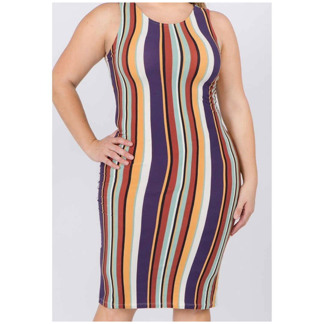 Sherbet Stripe Midi Dress