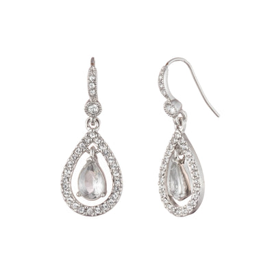 Pave Drop<br/> Wire Earring