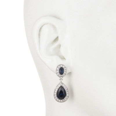 Pave Stone<br/> Double Drop Earring