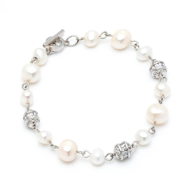 Freshwater Pearl</br>Single Row with Pave Bracelet