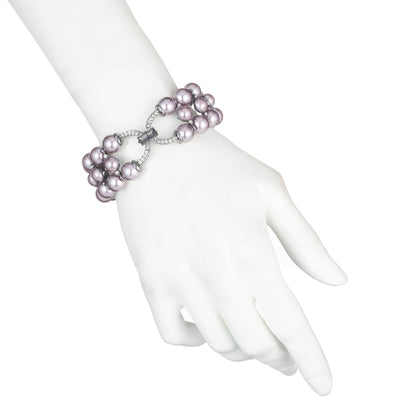 Fashionably Late<br/>Three Row Stretch Pearl Bracelet