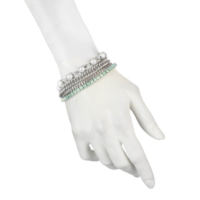 Marlene<br/>Pearl and Stud Chain Bracelet