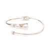 Eva<br/> Wire and Pearl Oval Bangle