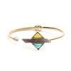 Florence <br/> Hinge Triangular Stone and Pearl Cuff Bracelet