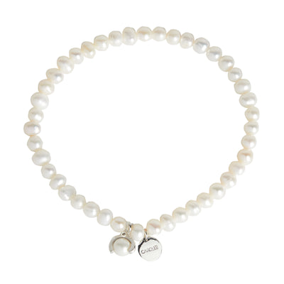 "Freshwater Pearl<br/> 7.5"" Stretch Pearl with Charm Bracelet"
