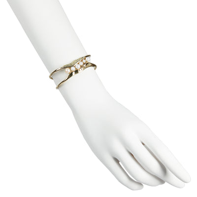 Flora <br/> Pave and Pearl Open Cuff Bracelet