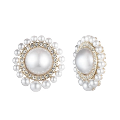 Cindy<br/> Large Pearl Stud Clip Earring