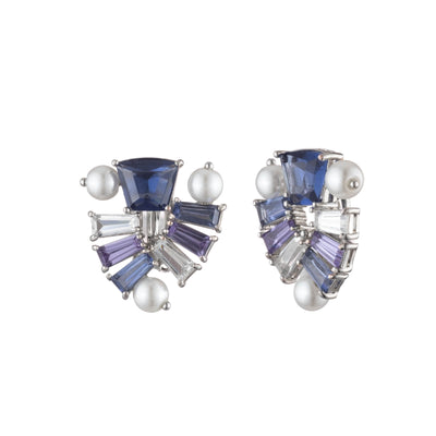 Daphne<br/> Pearl Stone Cluster Button Clip Earring