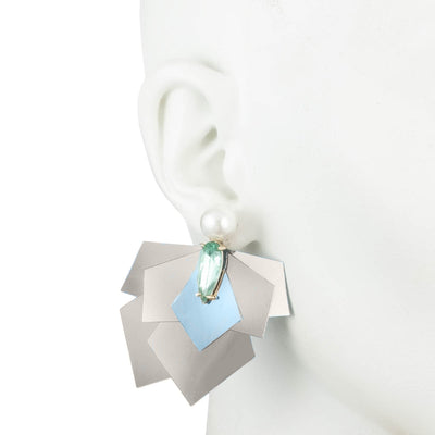 Kylie<br/> Sequin Cluster Drop with Pearl and Stone Clip Earring
