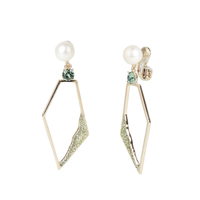 Flora <br/> Large Pearl Geometric Drop Clip Earring