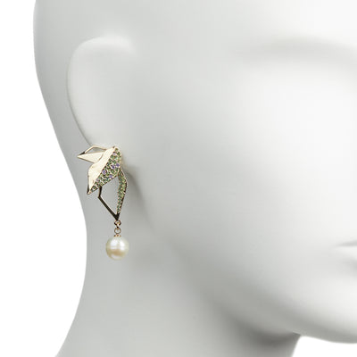 Flora <br/> Pave Leaf Drop Earring