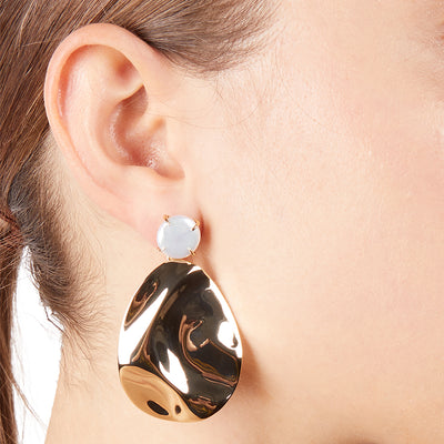 Iris<br/> Wavy Drop Clip Earring