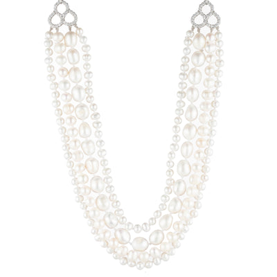 "Freshwater Pearl</br> 16"" 4 Row Necklace"