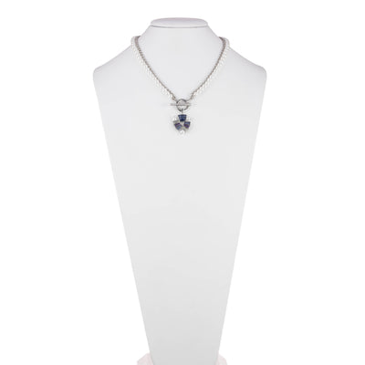 Daphne<br/> Two Row Pearl and Stone Toggle Necklace