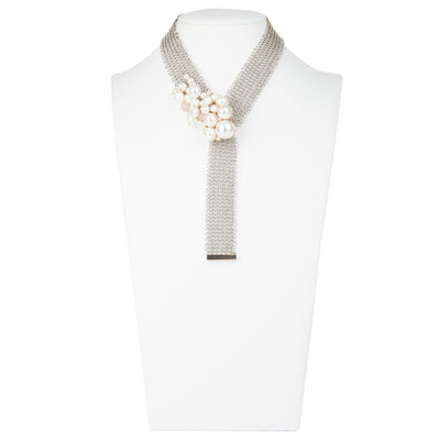 "Athena <br/> 20"" Cluster Pearl Mesh Necklace"