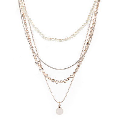 "Athena <br/> 14"" Freshwater and Rose Quartz Multi Row Necklace"