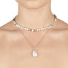 Cleo <br/>Layered Mixed Semi and Pearl Necklace