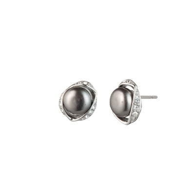 On Cloud Nine </br> Grey Pearl Stud Earring