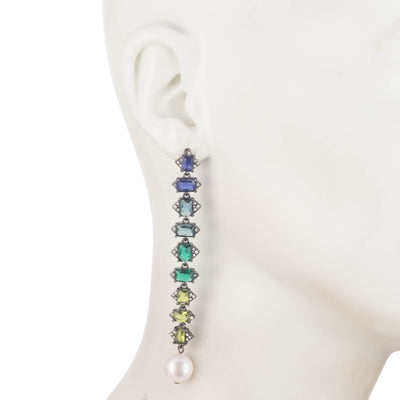 Out All Night<br/> Green Ombre Linear Earring