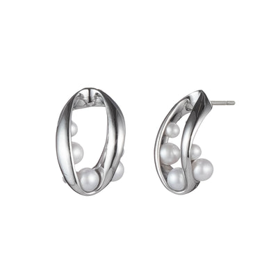 Michelle<br/>Open Ribbon & Pearl Stud Earring