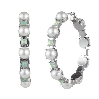 Marlene<br/> Pearl and Stone Hoop Earring