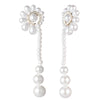 Cindy<br/> Linear Pearl Fan Drop Earring