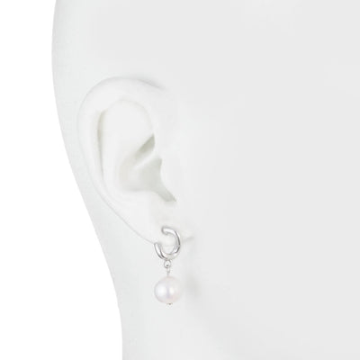 Freshwater Pearl<br/>Drop Earring with Silver Detail