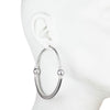 Dita<br/> Large Leather Hoop with Pearl Earring