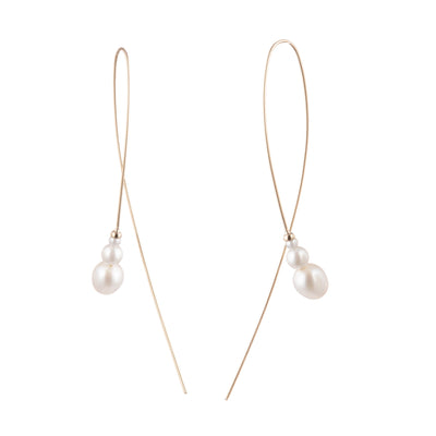 Eva<br/> Elongated Curved Wire Earring