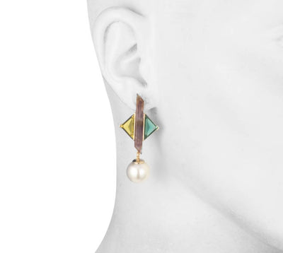 Florence <br/>Triangular Stone with Pearl Drop Earring