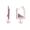 Amelia<br/> Square Chrysolite and Pearl Hoop Earring