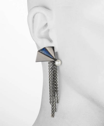 Amelia<br/> Gunmetal Chain and Lapis Earring