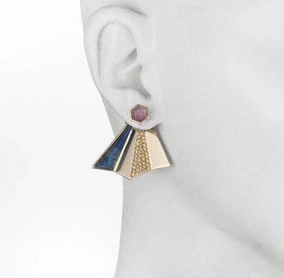 Amelia<br/> Hex Jacket Stud Earring