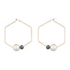 Alice<br/>Large Pearl Hexagon Hoop Earring