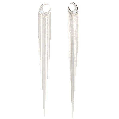 Selene <br/> Moon Tassel Post Fringe Earring
