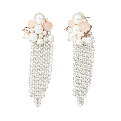 Athena <br/> Rose Quartz and Pearl Cluster Mesh Earring