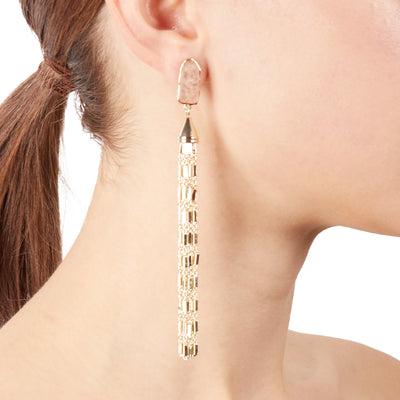 Rose<br/> Quartz Tassel Earring